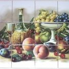 "Closeout Master's Fruit Ceramic Tile Mural 12p  4.25"" Grapes Wine Kiln Fired Back Splash"