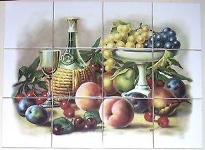 """Master's Fruit Ceramic Tile Mural 12p  4.25"""" Grapes Wine Kiln Fired Back Splash"""