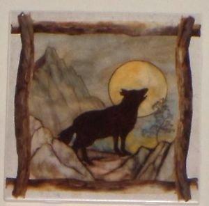 "Wolf or Coyote  Beige Ceramic Tile Kiln Fired Back Splash Decor 6""x 6"" Brown"
