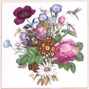 "Hummingbird #2 Wild Flowers Ceramic Tile 6"" X 6"" Kiln Fired Back Splash Decor"