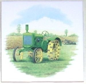"Closeout Antique John Deere Tractor Green and Yellow Ceramic Accent Tile 4.25"" Kiln Fired"