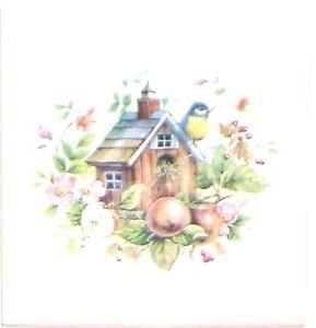"""Closeout Bird House Ceramic Tile With Apple and Bird 4.25"""" x 4.25"""" Kiln Fired Decor"""