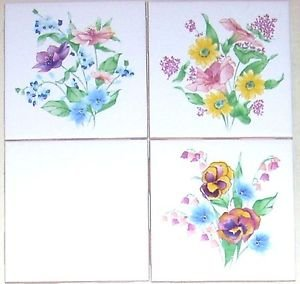 """Closeout Pansy Basket Flower Ceramic Tile Accents Set of 3 pc 4.25"""" Kiln Fired Decor"""