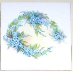 "Closeout Blue Forget Me Not Flower Ceramic Accent Tile 4.25"" x 4.25""  Kiln Fired Decor"