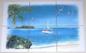 """Tropical Scene Ceramic Tile Mural 6pc 4.25"""" x 4.25"""" Palm trees and Blue Water"""