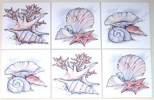 "Beautiful Sea Shell Ceramic Accent Tiles 6"" x 6"" Kiln Fired set of 6 Tiles"