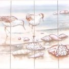 "Closeout Sand Piper  Kiln Fired Ceramic Tile Mural Back Splash Decor 12 pc 4.25"" x 4.25"""