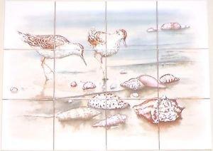 "Closeout Sand Piper  Kiln Fired Ceramic Tile Mural Back Splash Decor 12 pc 4.25"" x 4.25"""