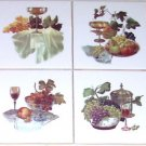 "Closeout Grape Ceramic Tile Mural Glasses Wine 4pcs Grapes 4.25"" Kiln Fired Accent Tile"