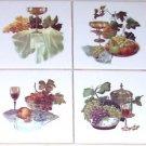 "Grape Ceramic Tile Mural Glasses Wine 4pcs Grapes 4.25"" Kiln Fired Accent Tile"
