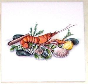 "Sea Food Lobster Clam Ceramic Tile Accent 4.25"" Kiln fired Decor"