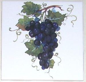 "Closeout Purple Grape Cluster Ceramic Tile 4.25"" Grapes Kiln Fired Back Splash Accent"