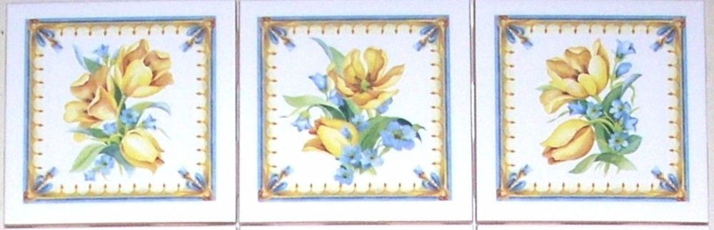 """Closeout Lovely Yellow Tulips Ceramic Tile Accents set of 3  4.25"""" Kiln fired Back Splash"""