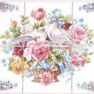 """Closeout Dove Bird Ceramic Tile Mural 6 pcs 4.25"""" Rose Blue Ribbon White Kiln Fired**"""