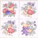 "Fruit Ceramic Tile 4.25"" Flower Kiln Fired Back Splash Accent Set 4 Apple Grape"