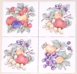 """Fruit Ceramic Tile 4.25"""" Flower Kiln Fired Back Splash Accent Set 4 Apple Grape"""