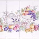 "Fruit Ceramic Tile Mural 12pcs 4.25"" KilnFired BackSplash Grapes Apple No Border"
