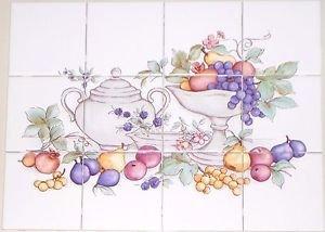 """Fruit Ceramic Tile Mural 12pcs 4.25"""" KilnFired BackSplash Grapes Apple No Border"""