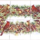 "Cardinal Song Bird Ceramic Tile Mural 6pcs 4.25""   Kiln Fired Decor"