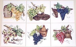 "Grape Wine Making Ceramic Tile Mural Accents 6 of 6""  Kiln Fired Back Splash"