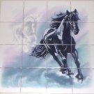 """Horse Ceramic Tile Mural 16pcs of 4.25"""" Kiln Fired Ceramic Tiles Black Mustang"""