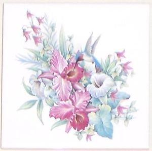 "Blue Hummingbird Iris Flowers Ceramic Tile 6"" X 6"" Kiln Fired Back Splash Decor"