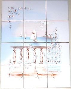 """Closeout Peaceful Flower and Water Ceramic Tile Mural 12pcs 4.25"""" Kiln Fired Decor"""