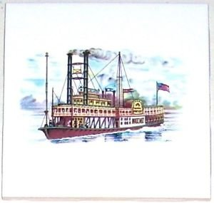 "Natchez River Boat Ceramic Tile Accent 4.25"" X 4.25"" Kiln Fired Back Splash Tile"