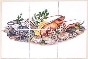"Sea Food Lobster Clam Ceramic Mural 6 piece of 4.25"" x 4.25""  Kiln fired Decor"