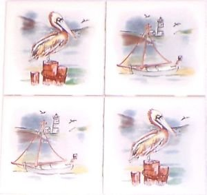 "Pelican Ceramic Tile Accents Back Splash Sea Bird Beach 4pcs 4.25"" Kiln Fired"