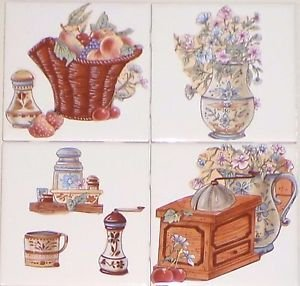 "Stone Kitchen Ceramic Tile Biscuit color Kiln Fired 4.25"" 3 pc Accents Decor"
