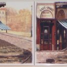 "2 Paris Cafe Ceramic Tile Accents 6 of 6"" Village Scene Kiln Fired Backsplash"