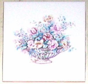"Closeout FOUR Roses and Peonies Ceramic Tile Mural Accent 4.25"" Kiln Fired Light Pink Flowers"