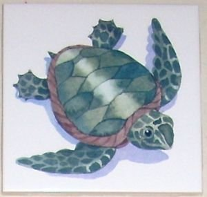 "Sea Turtle 4.25"" Kiln Fired Ceramic Tile  Decor for Back Splash"