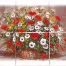 "Closeout Poppy Ceramic Tile Mural 6pcs 12.75"" x 8.50"" Red Poppies Flower Kiln Fired Decor"