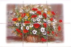 "Closeout Poppy Ceramic Tile Mural 6pcs 12.75"" x 8.50"" Red Poppies Flower Kiln Fired Decor"