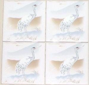 "Heron Ceramic Tile Accent Tiles Kiln Fired 4.25"" Water Bird  Kiln Fired Herron"