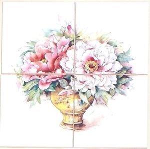 "Closeout Pale Pink Rose Flower #2 Ceramic Tile Mural 4 pcs 4.25"" Kiln Fired Back Splash"