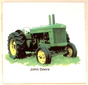 "Closeout Green Farm Tractor John Deere Ceramic Tile 4.25"" x4.25""  Kiln fired Decor"