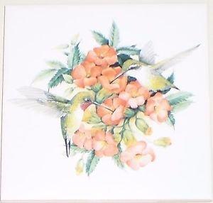 "Hummingbird Ceramic Tile with Peach Flowers 6""x 6"" Kiln Fired Decor Back Splash"