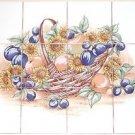 """Sunflower and Plums Ceramic Tile Mural 12 of 4.25""""  Kiln Fired Back Splash"""