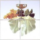 "Closeout Grapes and White Wine Ceramic Tile Mural 4 pcs 4.25"" Kiln Fired Back Splash"