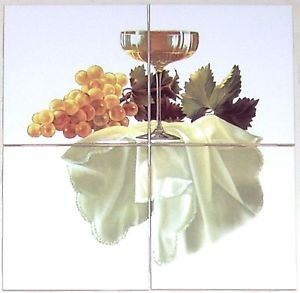 "Closeout Grapes and White Wine Ceramic Tile Mural 4 pcs 4.25"" Kiln Fired Back Splash"
