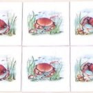 "Closeout Six Crab Ceramic Tile 4.25"" x 4.25"" Kiln Fired Accent Back Splash Tile Decor"