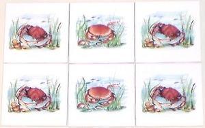 "Closeout Six Crab Ceramic Tile 4.25"" x 4.25"" Kiln Fired Accent Back Splash Tile Decor"