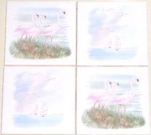 "Closeout Light Pink Flamingo Ceramic Tile Accents set of 4 of 4.25"" Kiln Fired BackSplash"