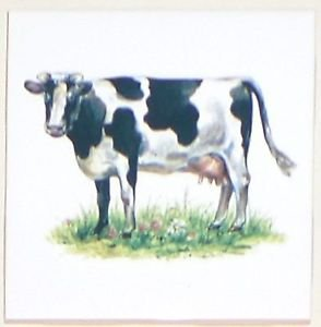 "Closeout Black and White Cow Ceramic Accent Tile 4.25"" Kiln Fired"