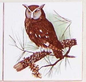 "Owl #2 Bird Ceramic Accent Tile 4.25"" Kiln Fired Decor Wild Life"