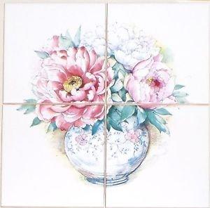 "Closeout Pale Pink Rose Peony Flower #3 Ceramic Tile Mural 4 pcs 4.25"" Kiln Fired Decor"