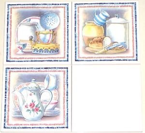 """Closeout Old Fashion Teapot Kitchen Ceramic Tile Mural set 3 of Accents 6""""x6"""" Kiln Fired"""